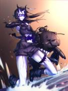 戦闘中仮面が吹っ飛んで大事なところが見えちゃった軽巡棲姫ちゃん♥
