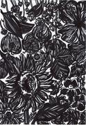 花言葉に「笑顔」が入っている花を黒だけで描いてみた。
