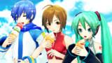 アイスを食べる三人