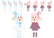 関西弁と標準語をしゃべる双子姉妹のイラストです。