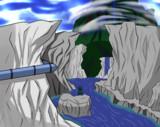 玄武の沢から臨む妖怪の山