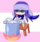 ラーメンスープを作るラベンダー