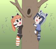 木登りするベビーフレンズ達