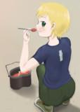 食事するパック姉貴
