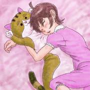 抱き枕で眠るひなた