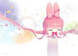 世界を感じるピンクうさぎちゃん