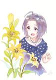 あずささんとユリの花