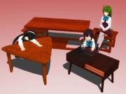 【MMD】木製テーブル3点盛り