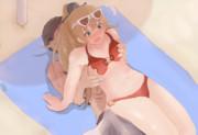 ビーチで寝ている間にビーチチェアが提督にすり替えられた熊野