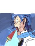 スイカバーを食べるKAITO兄さん