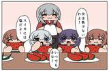 スイカを食べる第六駆逐隊