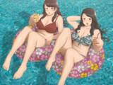 2人用浮き輪お姉さん+水中の尻1