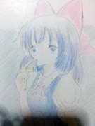チルノとアイスキャンディ色鉛筆手描き