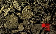「紫陽花」※写真加工・線画・金色・背景黒・おむ09007