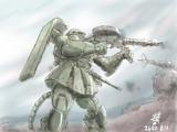 阿蘇の戦いにおける戦闘中のジオンのザク
