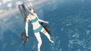 【動画GIF】霞改二 水着mode 魚雷シーン再現