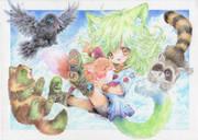 みどりのネコチャン(フタシロちゃん)とケモノたち
