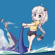 サメ乗りあかりちゃん