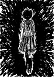 こちらに歩いて来る地味目な文学少女