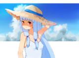麦わら帽子をかぶった葵