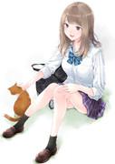 猫と戯れるぎゃる女子高生