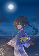 朝潮ちゃん。浴衣、花火、夜の海。