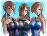 水本ゆかり、新田美波、三船美優の競泳水着。