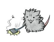蚊と戦うネズミ