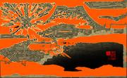 「初日の出 112」※線画・金色・背景朱・おむ09041