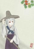 紅葉と巫女さん