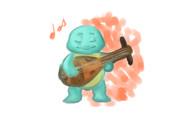 琵琶を弾くゼニガメ