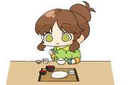 やよい軒で締めのお茶漬けを食べる高森藍子