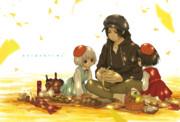 黄金の絨毯秋空に舞え