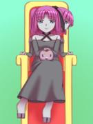 玉座に座るエニラちゃん