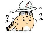 かばんちゃんの帽子を回すサーバルちゃん