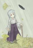 公孫樹と鴉と巫女さんと