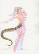 白いドレスのアフリカニシキヘビ