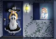 アリス邸の前に佇む魔理沙