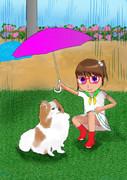 ポメラニアンに傘を差しだす少女