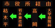 枯木平線のLED方向幕(弘南バス)