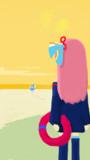 砂浜で遊ぶ葵ちゃん