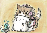 オジさん提督にじゃれる大和猫