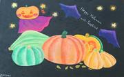 チョークアートのかぼちゃたち