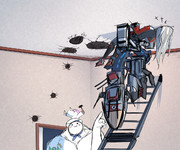 2階にある指揮官の部屋を床から探るオイゲン(下)