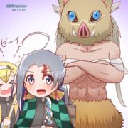 鬼滅な清霜と武蔵さんとベーイ