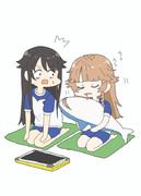 動画の配信待ちをしているシロちゃんとココちゃん