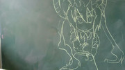 黒板にメイドラゴンのトールを描いてみた!