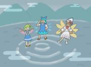 霧の湖で遊ぶ妖精さん