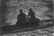 川辺の学生カップル