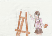 絵を描く伊香保葉凪ちゃん
